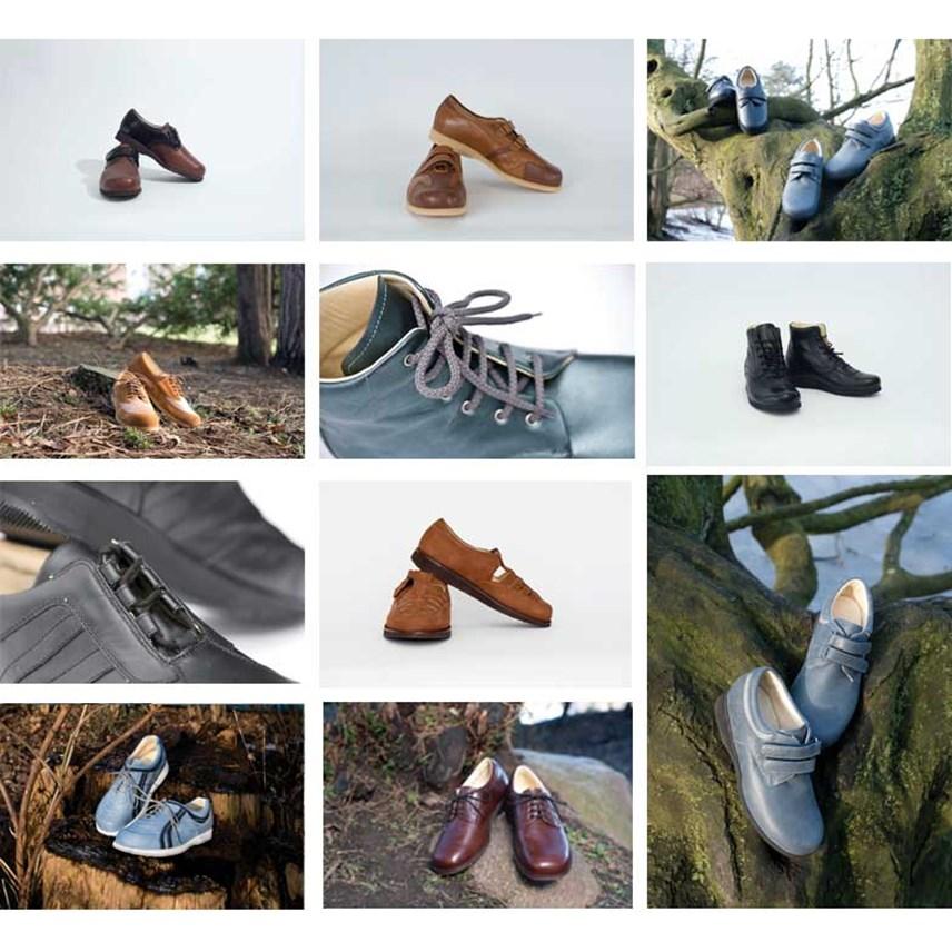 40f4d469f74 Sahvas håndsyede fodtøj kan fås i et stort udvalg af farver og materialer.  Spørg din ortopædiske skomager om de mange muligheder.